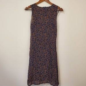 Zara Collection dress navy blue and tan size 6
